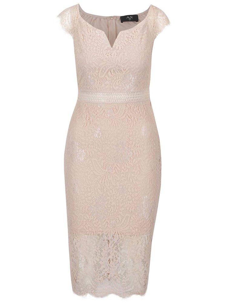 Světle růžové krajkové šaty AX Paris