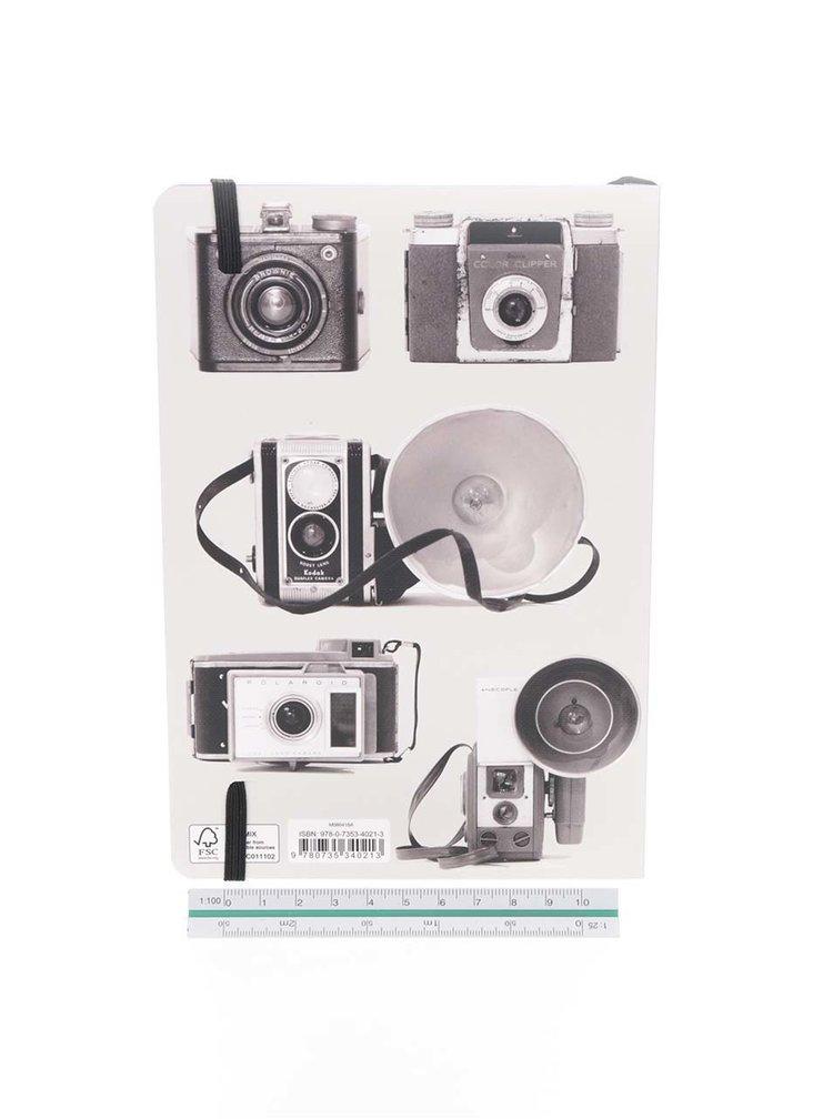 Černo-šedý zápisník s motivem fotoaparátů Galison