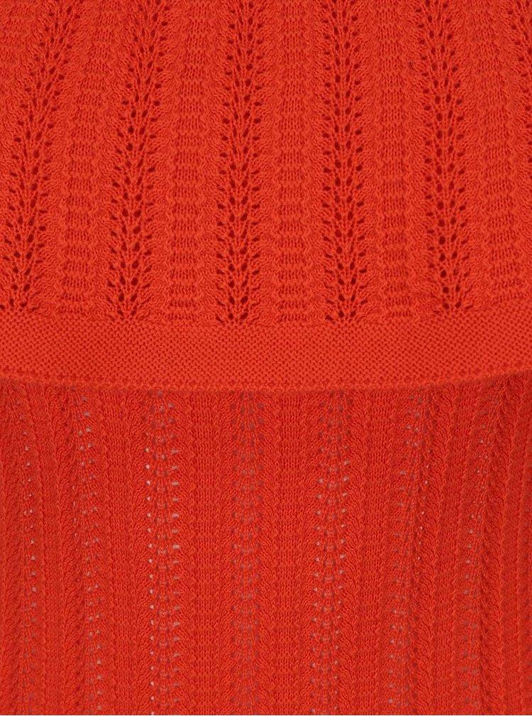 Oranžová halenka s odhalenými rameny a volánem Dorothy Perkins