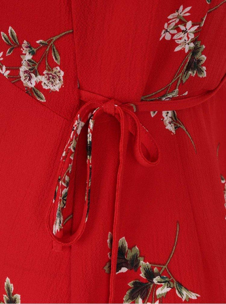 Červené květované zavinovací šaty AX Paris