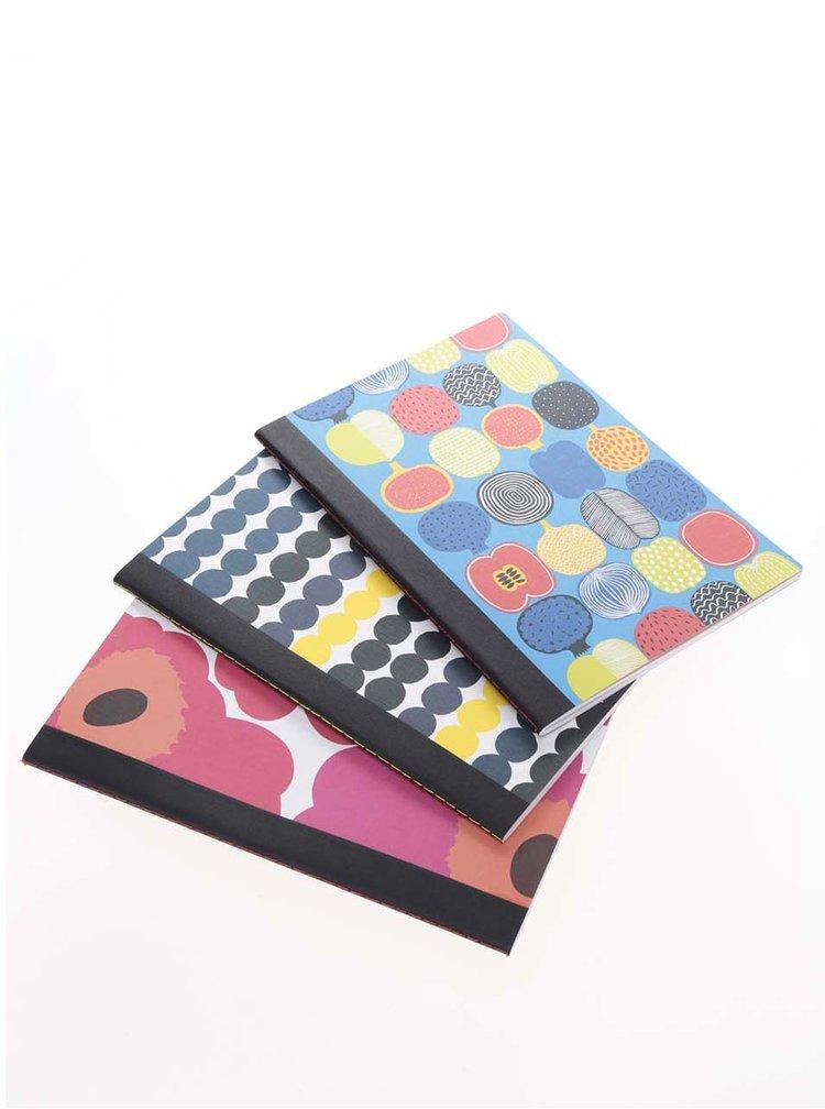 Set 3 caiete multicolore A5 Chronicle Marimekko