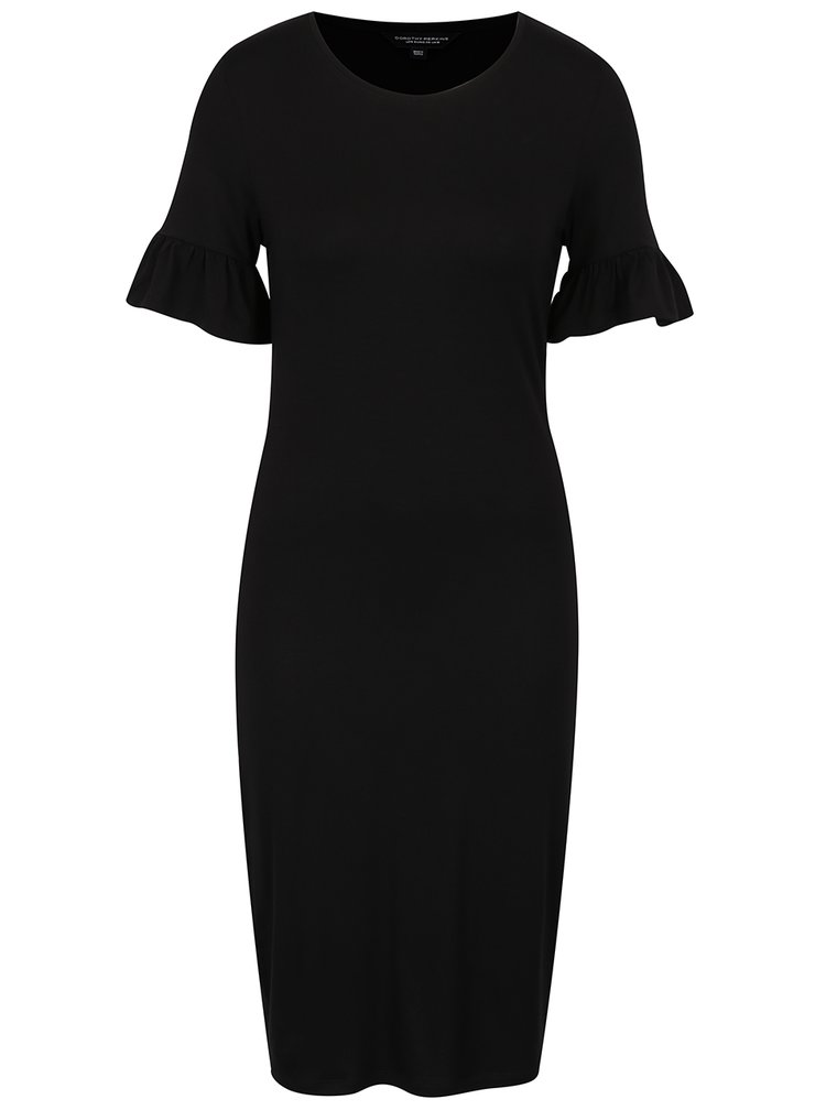 Černé šaty s volány na rukávech Dorothy Perkins
