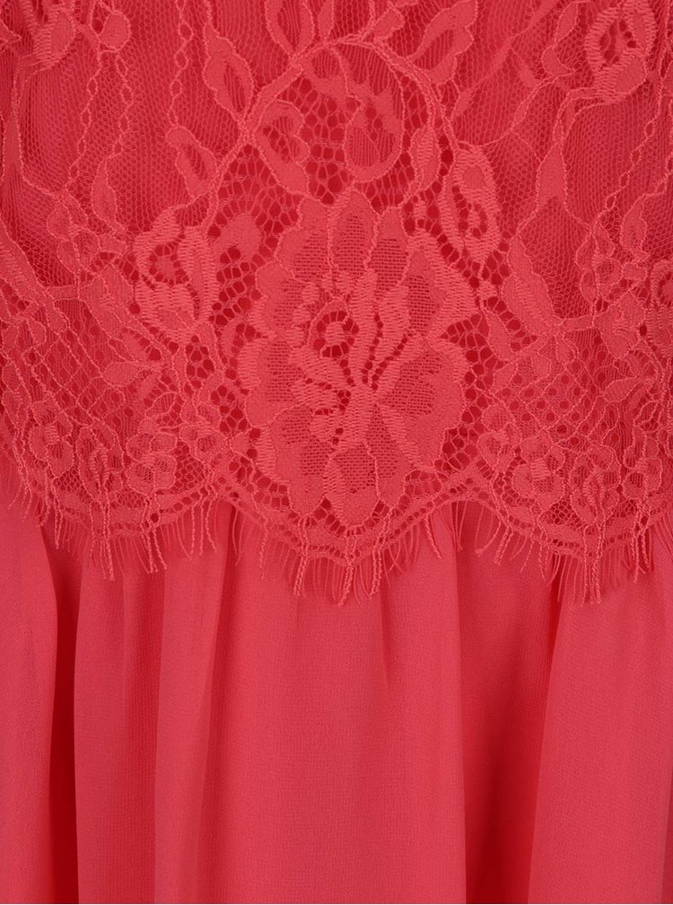 Růžové šaty bez rukávů s krajkovým topem Dorothy Perkins