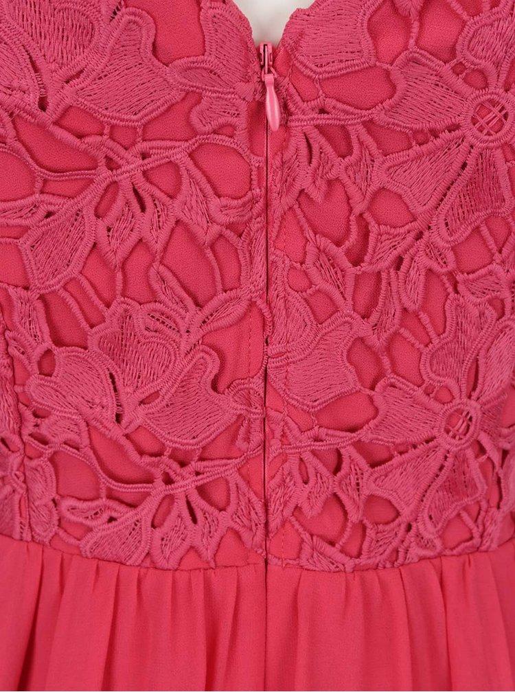 Tmavě růžové šaty s krajkovým topem Dorothy Perkins