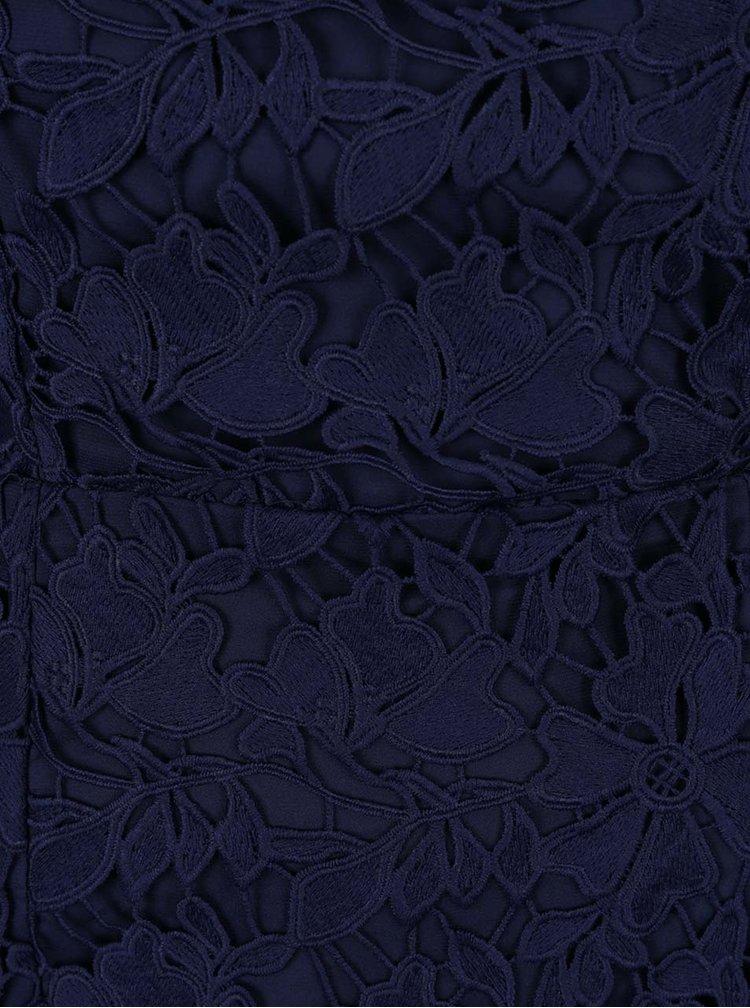Tmavě modré krajkové šaty s 3/4 rukávem Dorothy Perkins