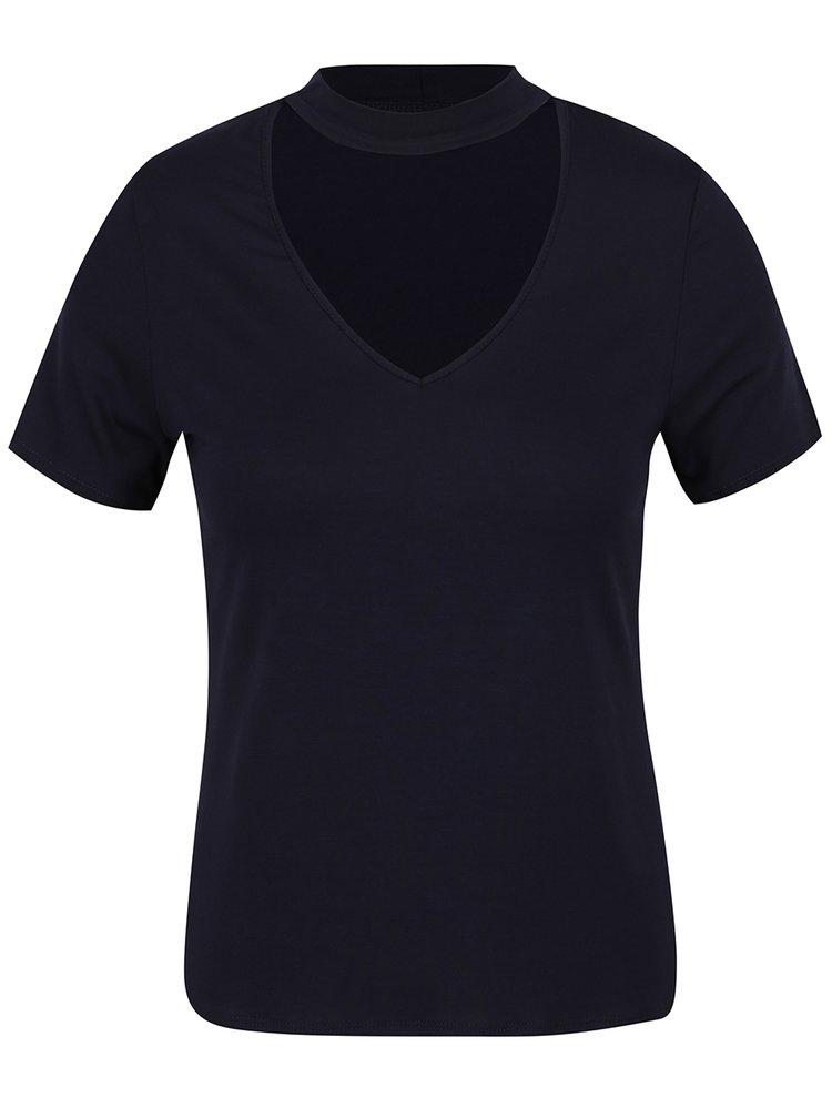 Tmavě modré tričko s chokerem Dorothy Perkins Petite