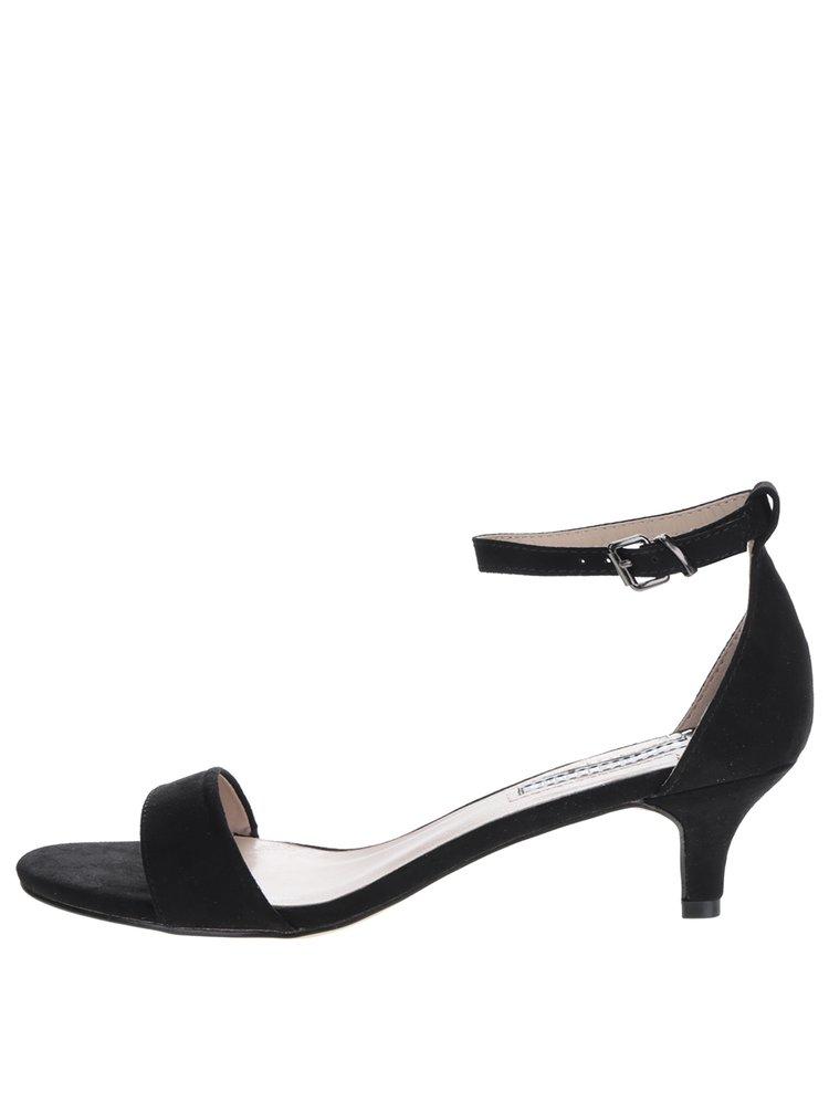 Černé sandálky v semišové úpravě na podpatku Dorothy Perkins