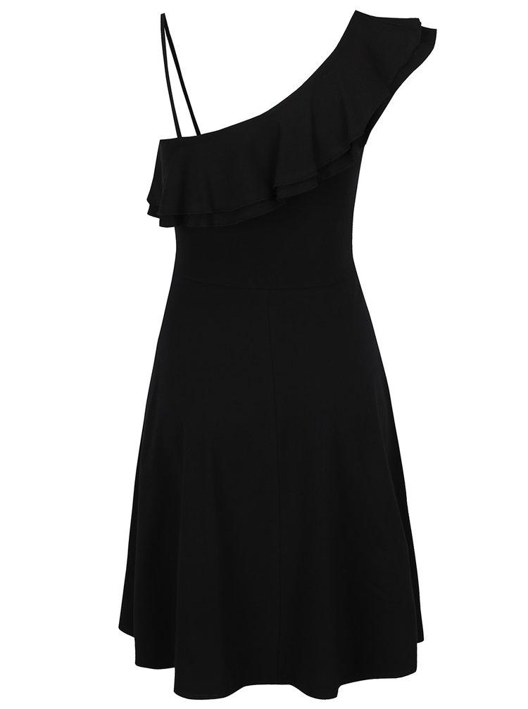 Černé asymetrické šaty s volánem Dorothy Perkins
