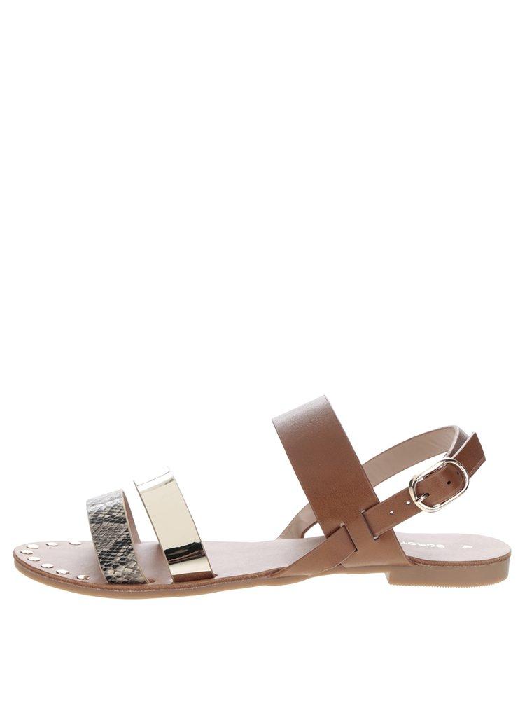 Sandale maro & auriu & piele de șarpe Dorothy Perkins