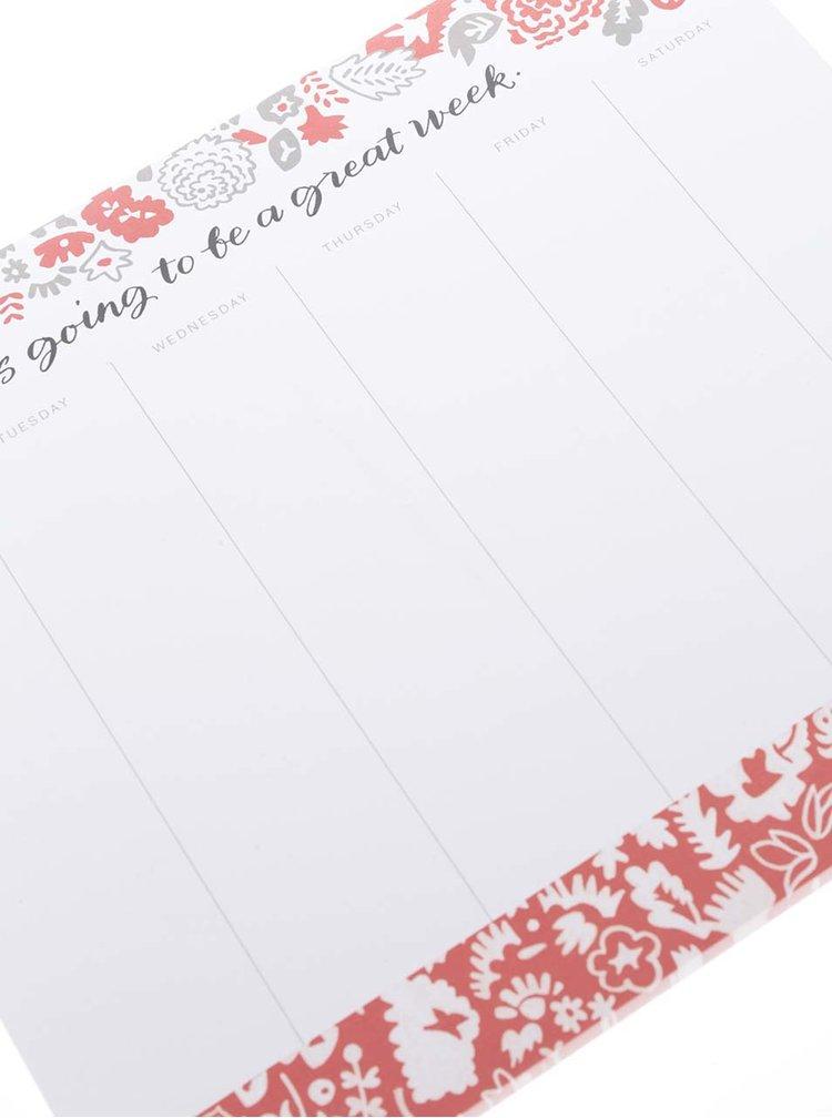 Červeno-bílý plánovací blok/podložka pod myš Galison