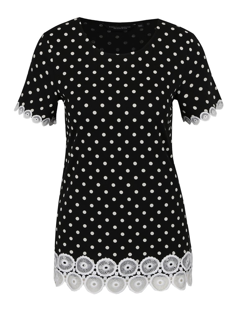 Tricou negru Dorothy Perkins cu model cu buline
