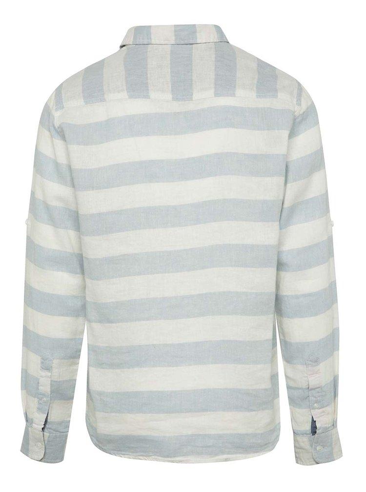 Krémovo-modrá pruhovaná lněná košile Blend