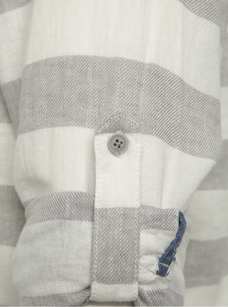 Krémovo-šedá pruhovaná lněná košile Blend