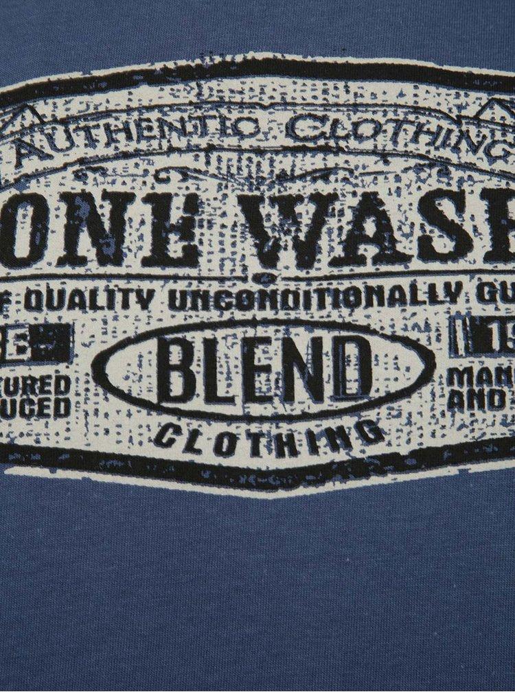 Tricou albastru inchis Blend cu print