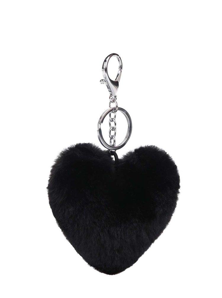 Černý přívěšek ve tvaru srdce Haily´s Pompom