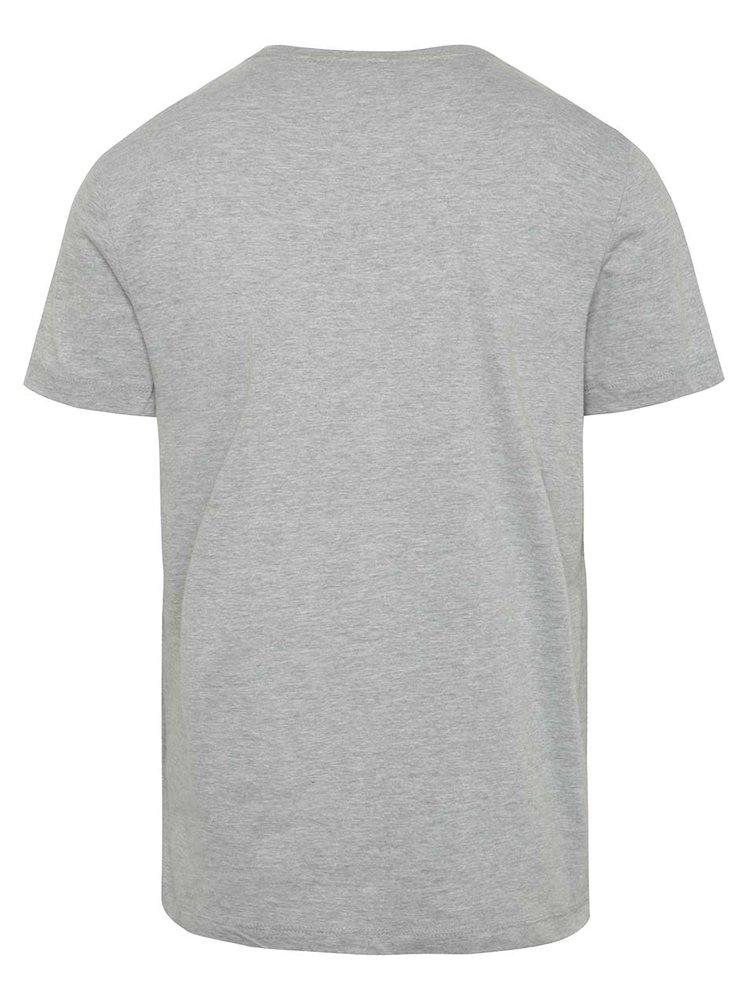 Šedé triko s potiskem a krátkým rukávem Blend