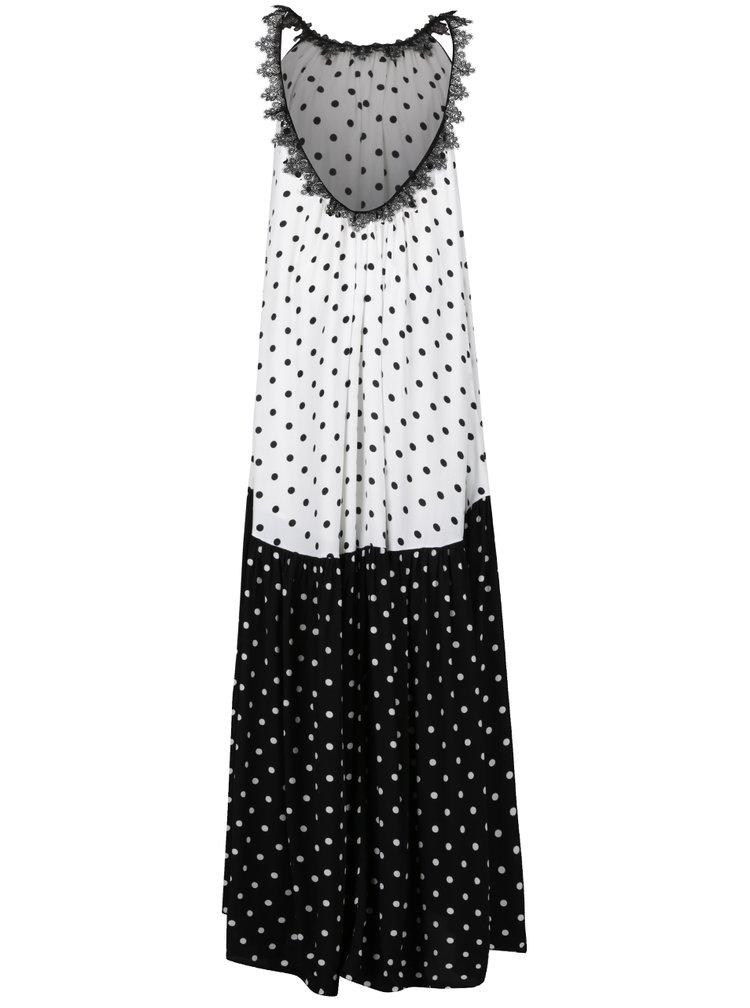 Černo-bílé puntíkované maxišaty NISSA