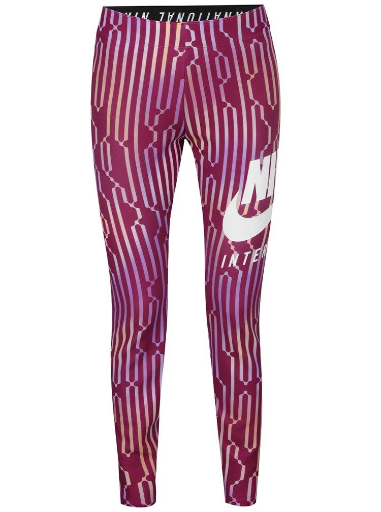 Tmavě růžové vzorované dámské legíny Nike