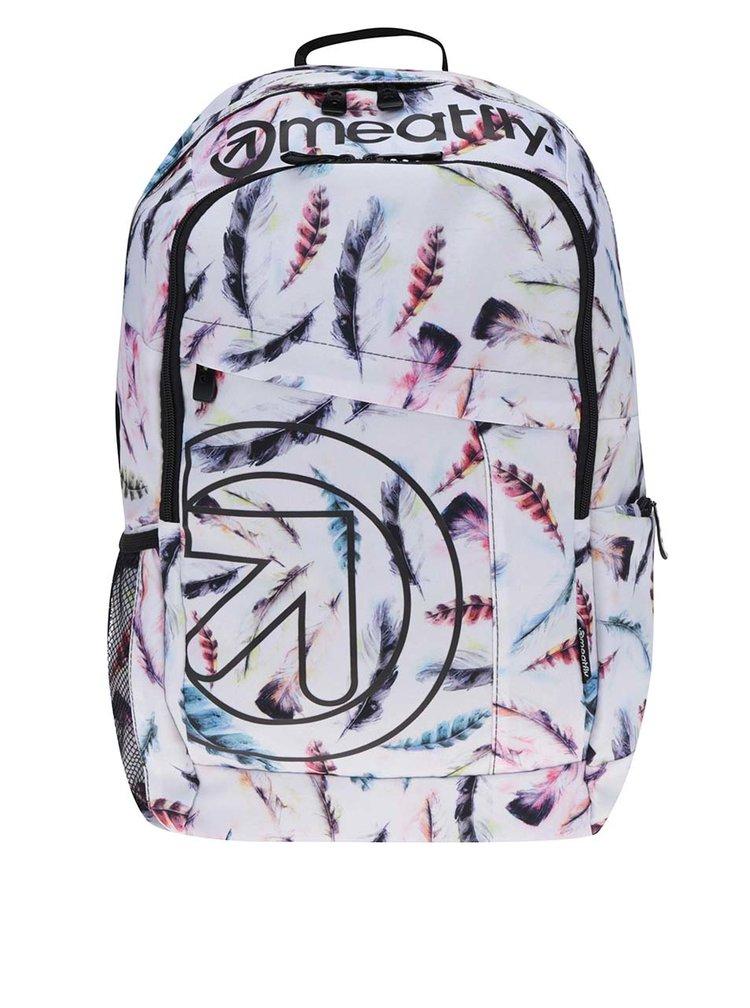 Bílý dámský batoh s potiskem pírek Meatfly Basejumper   20 l