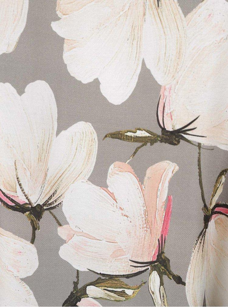 Šedý top s květovaným potiskem a tenkými ramínky NISSA
