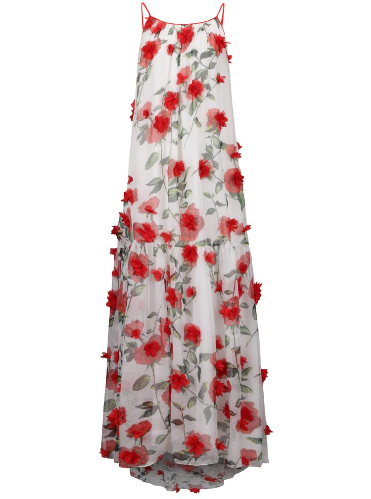 Červeno-bílé květované volné maxišaty s tenkými ramínky NISSA