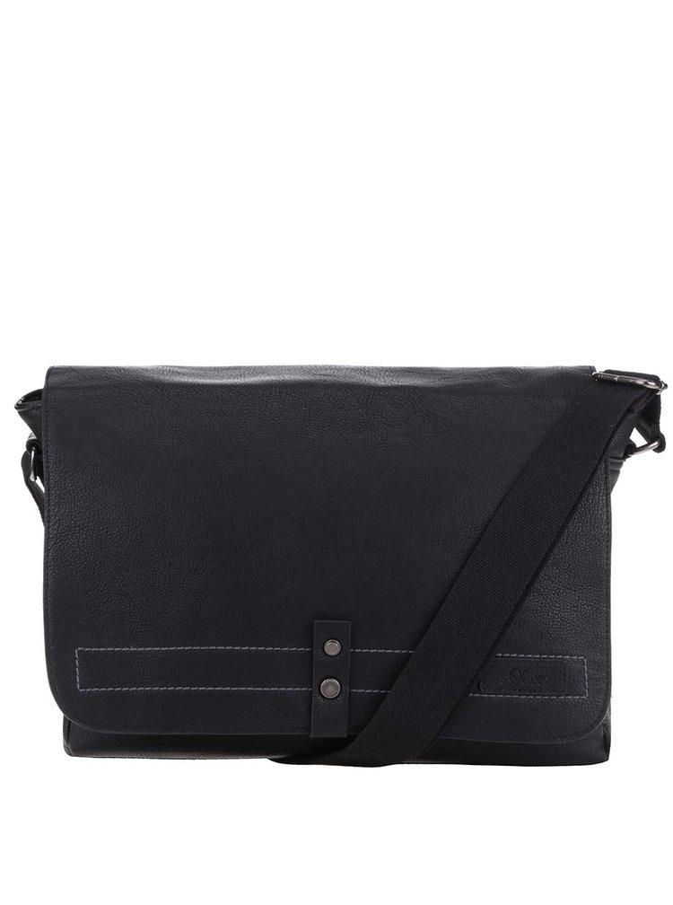 Černá pánská koženková crossbody taška s.Oliver