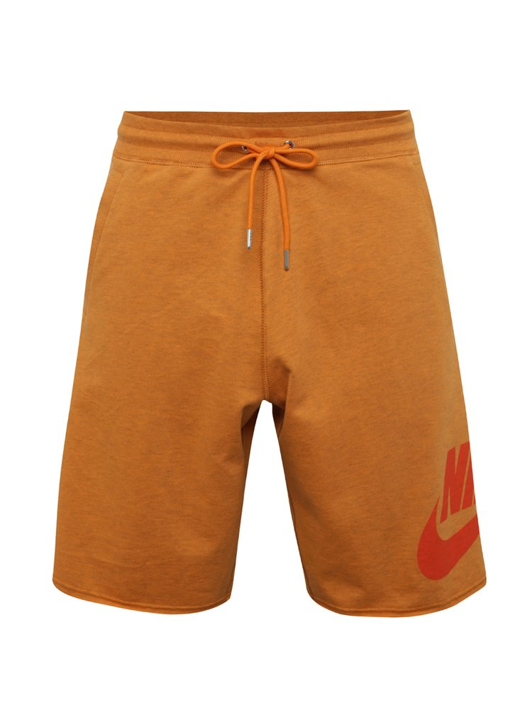 Oranžové pánské teplákové loose fit kraťasy Nike