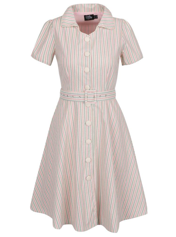 Růžovo-krémové pruhované šaty s páskem Dolly & Dotty Jannie