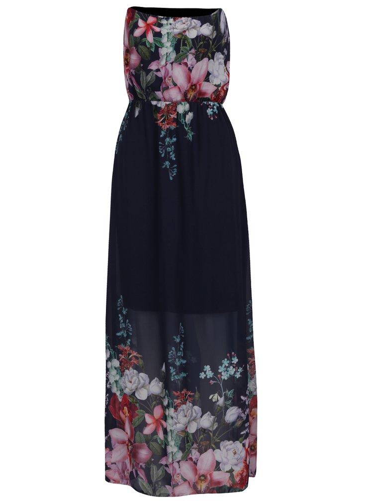 Tmavě modré květované maxišaty bez ramínek Haily´s Kelsie