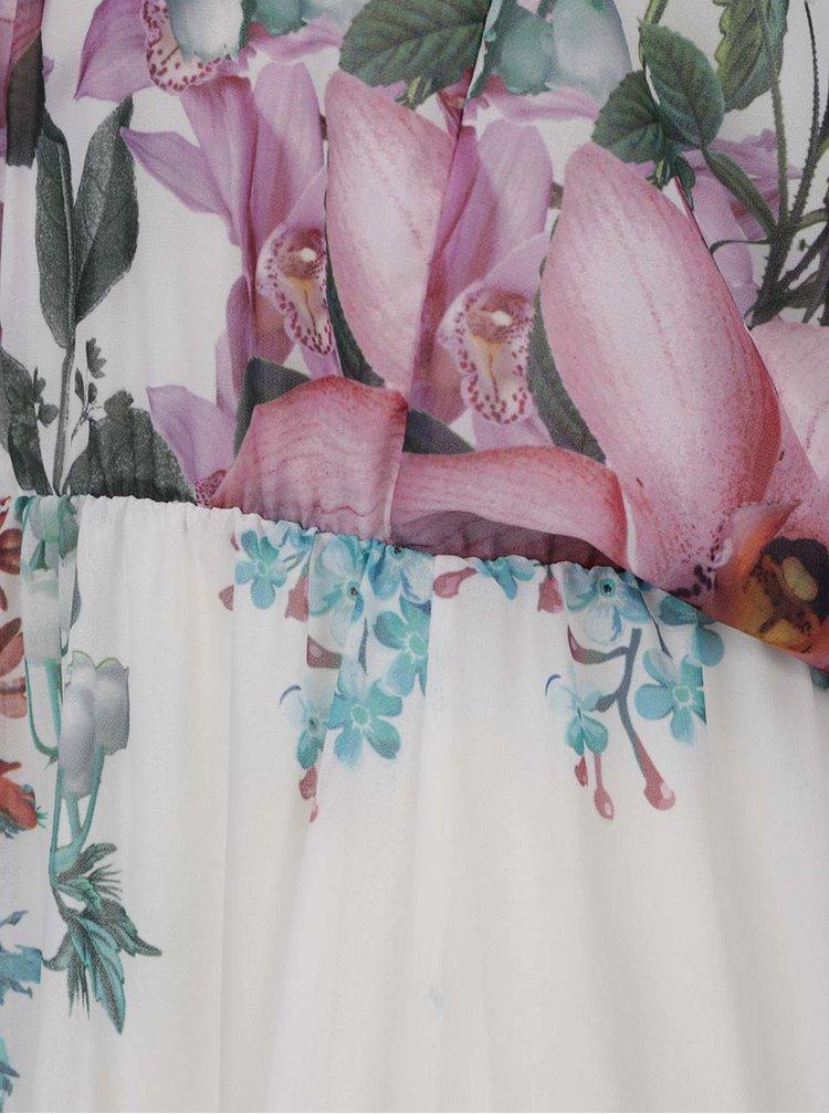 Krémové květované maxišaty bez ramínek Haily´s Kelsie