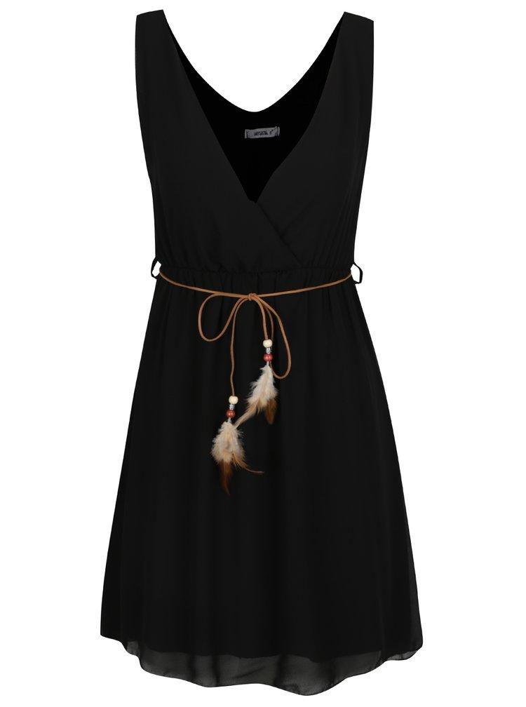 Černé šaty s ozdobným páskem Haily´s Mira
