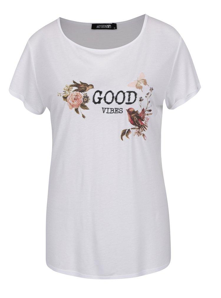 Bílé tričko s potiskem a výšivkou Haily´s Vibes