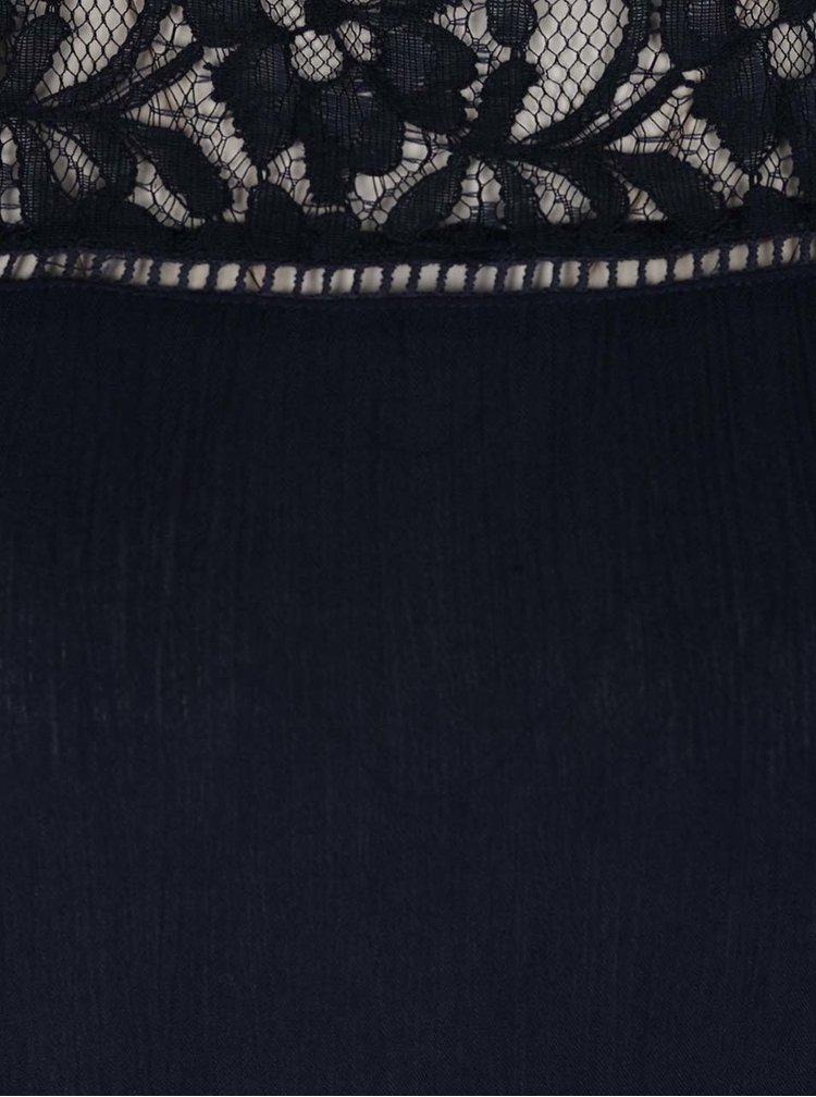 Tmavě modrá halenka bez rukávů s krajkou Haily´s Anny