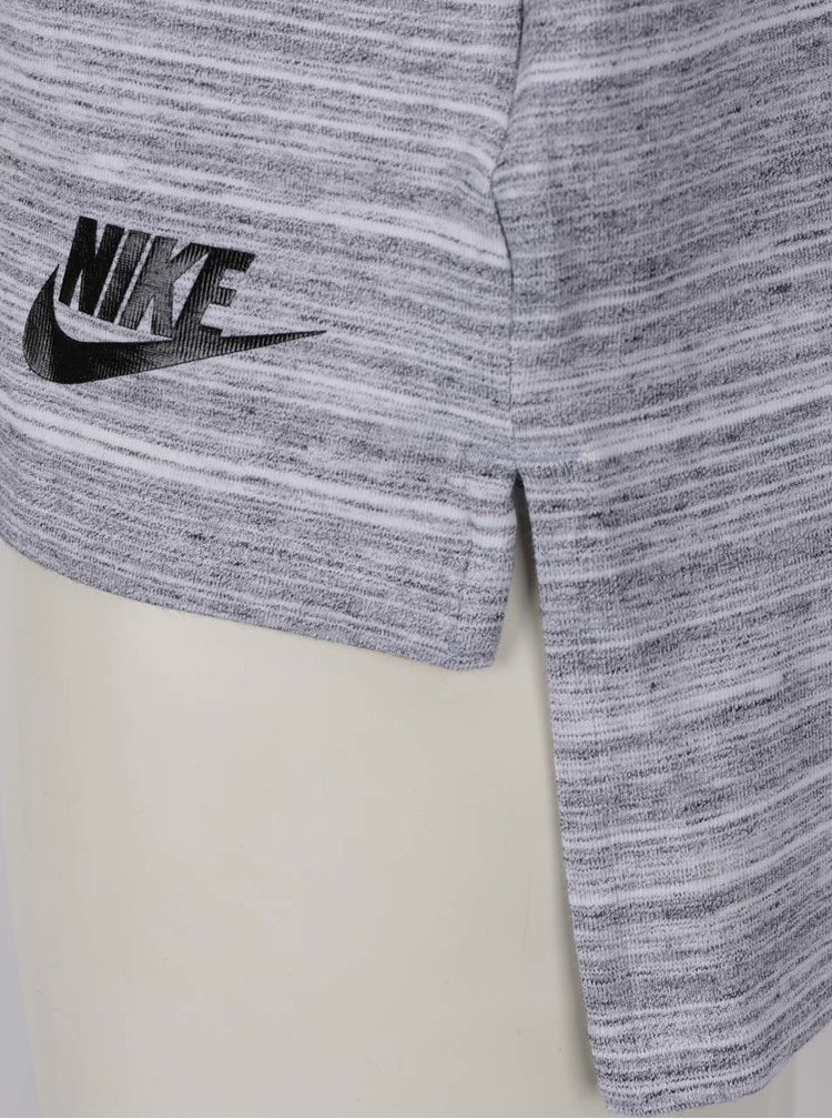 Šedé dámské žíhané tílko s prodlouženým střihem Nike