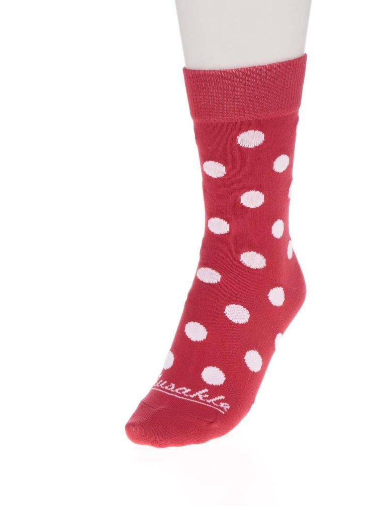 DUPLICITA k dealu 307194 Bílo-červené pánské puntíkované ponožky Fusakle Komanč