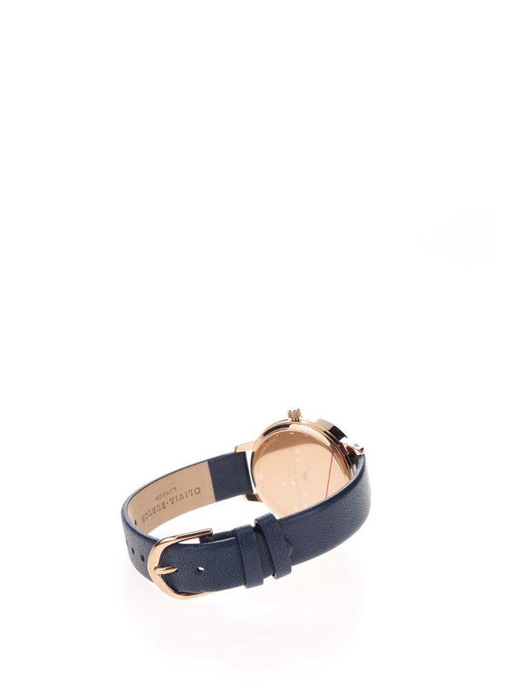 Hodinky ve zlatorůžové barvě s tmavě modrým páskem Olivia Burton