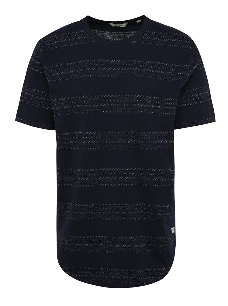 Tmavě modré pruhované triko ONLY & SONS Dennis