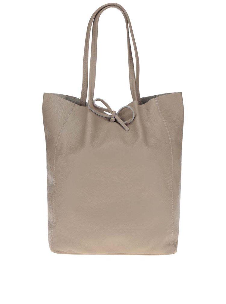 Béžový kožený shopper ZOOT Simple