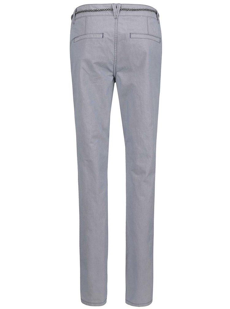 Krémovo-modré dámské chino kalhoty s páskem s.Oliver