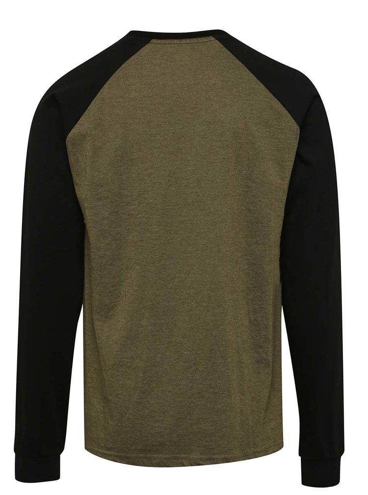 Černo-zelené pánské triko s nášivkou a dlouhým rukávem  NUGGET Module