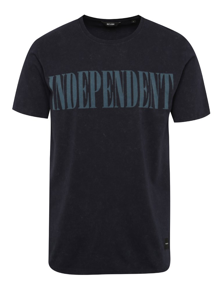 Tmavě modré triko s potiskem ONLY & SONS Ingmar