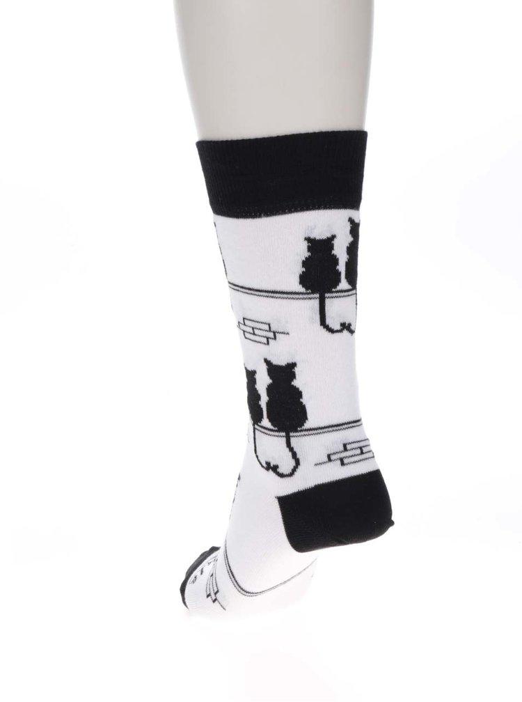 Șosete alb & negru Fusakle Kocúr pentru femei