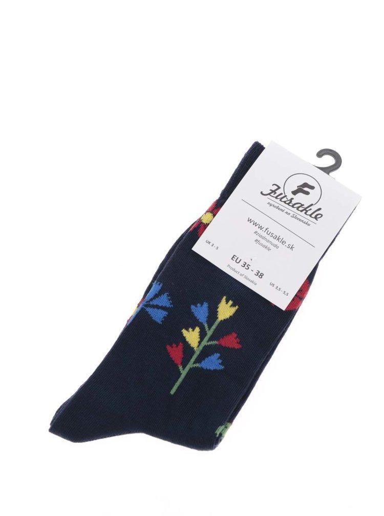 Tmavě modré unisex ponožky s motivem květin Fusakle Kvetinár