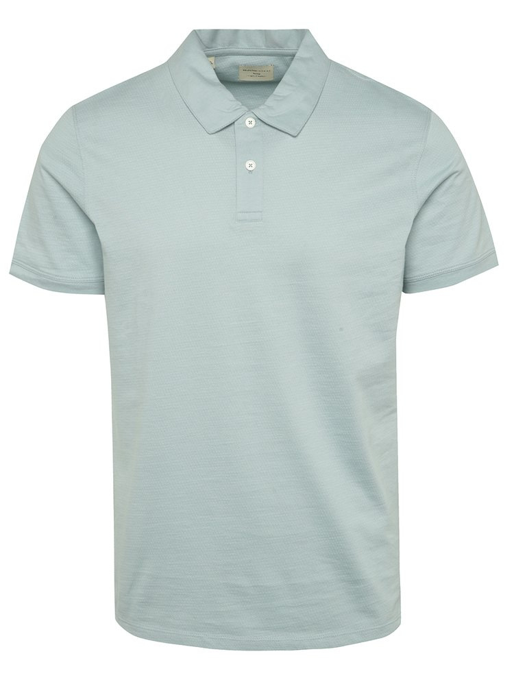 Tricou polo albastru deschis Selected Homme Summer cu model discret