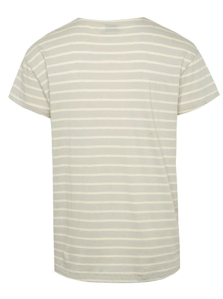Tricou gri deschis oversize Selected Homme Pure in dungi