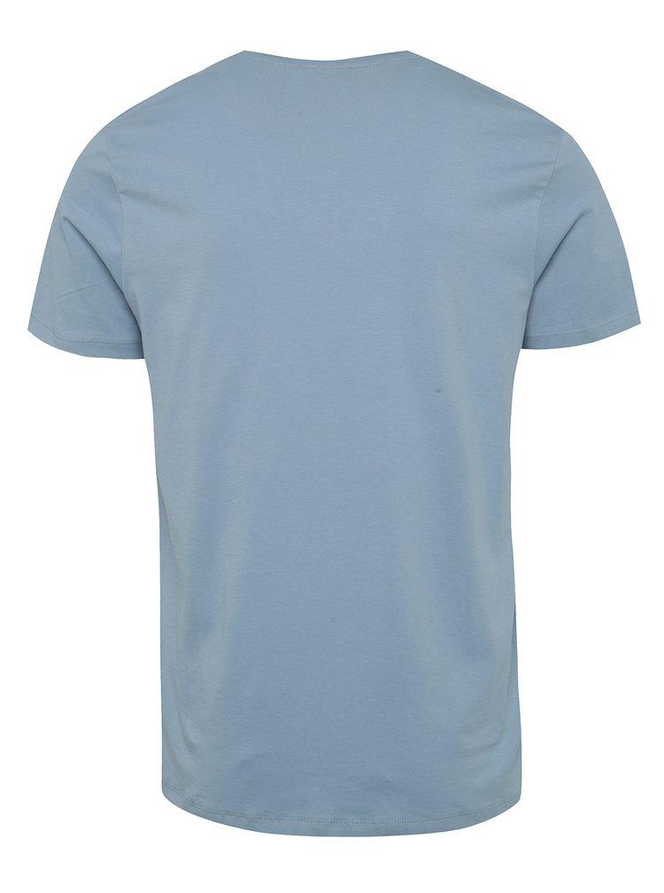 Tricou albastru Selected Homme Noam cu print