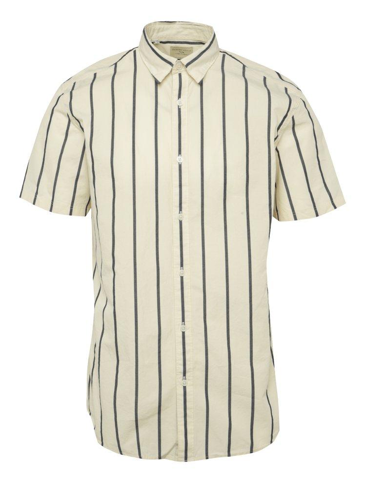 Krémová pruhovaná košile s krátkým rukávem Selected Homme Honelouis