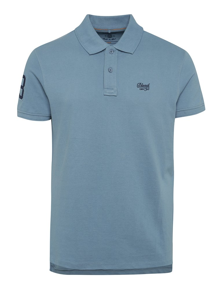 Tricou polo bleu Blend cu șlițuri laterale