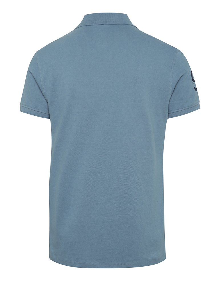 Tricou polo bleu Blend cu slituri laterale