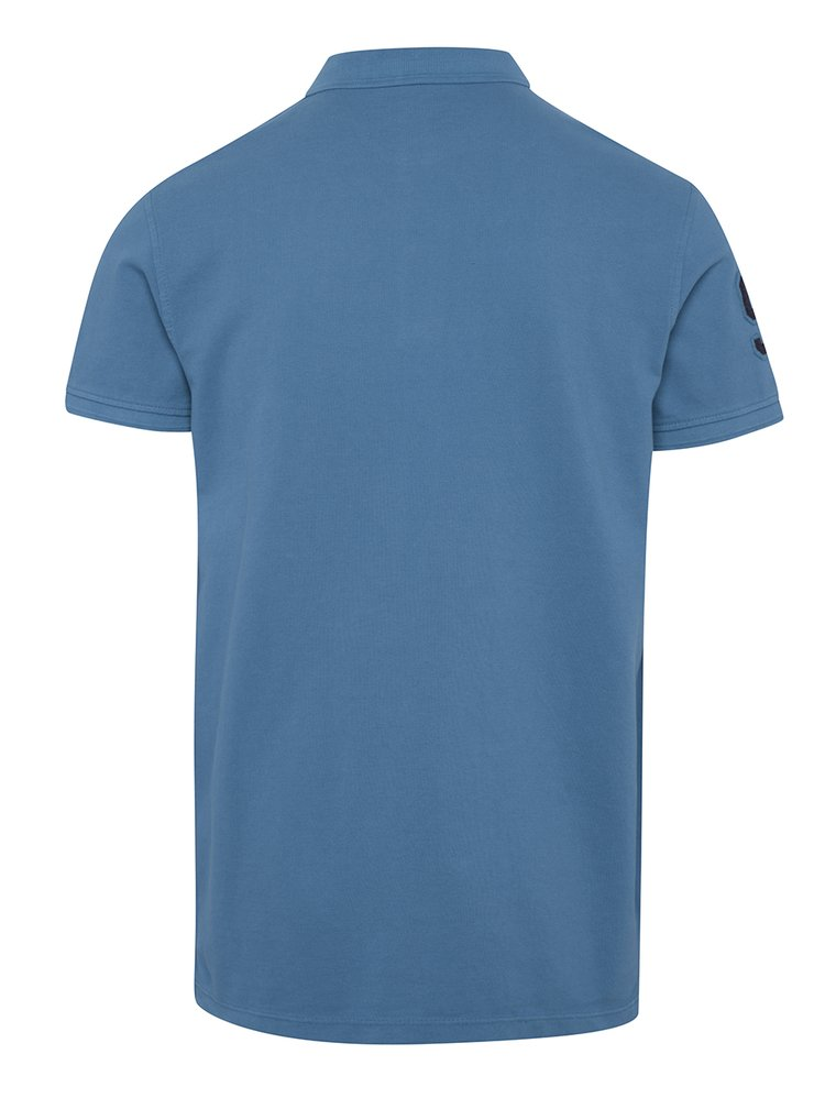 Modré polo triko s nášivkou na rameni Blend